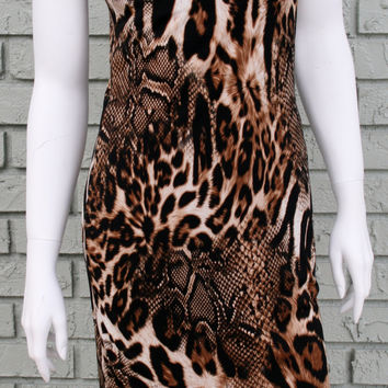 Joseph Ribkoff Womens Brown Black Animal Print Sleeveless Dress $275 New