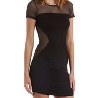 Black Mesh Cut-Out Bodycon Dress by Charlotte Russe