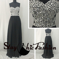 Silver Rhinestones Beaded Top Sexy Black Long Cutout Waist Chiffon Prom Dresses 2015, Girls Beaded Side Cutouts Long Homecoming Dresses