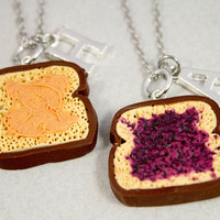 Two Best Friends Necklaces - Peanut Butter and Jelly Necklaces - Personalized Jewelry - Custom Monogram Jewelry - Best Friend Gift