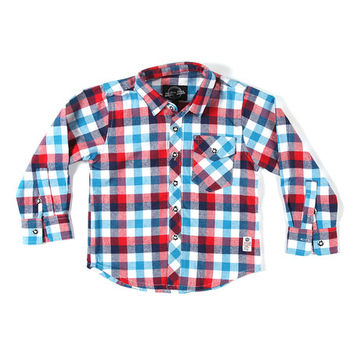 Something Strong Red & Blue Plaid Flannel Button-Up - Boys   zulily