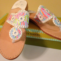 Lilly Pulitzer inspired print Jack Rogers hand painted