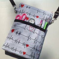 EKG  - Nursing purse, RN Bag, Medical purse, medical bag, stethoscope and BP bag for nursing students, LNAs, CNAs, Vet Techs & others