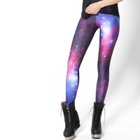 Fashion Women Galaxy Leggings Digital Print Leggings, Space Print Pants Black Black Milk Leggings