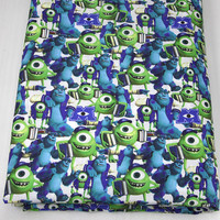 43659 50*147cm cartoon monsters university fabric patchwork printed cotton fabric for Tissue Kids Bedding home textile for bag