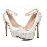 Round Toe Rubber Lace Stiletto High Heel Pumps US