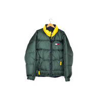 vintage TOMMY HILFIGER down jacket - REVERSIBLE puffer jacket - 90s 1990s - spell out logo - l - xl