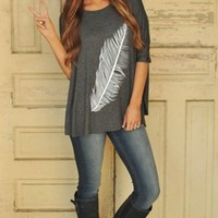 FEATHER TUNIC- GREY