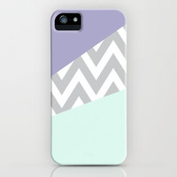 Mint & Lavender Chevron Block iPhone Case by daniellebourland