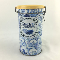 Blue and White Dutch Crisbakes Storage Tin Canister with Air Tight Swing Top Delft Blue Design Tall Metal Kitchen Storage Tin with Lid