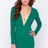 Ever So Lucky Green Long Sleeve Dress