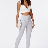 Missguided - Franchesca Zip Detail Cigarette Trousers Powder Blue