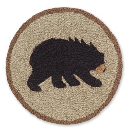 """Image of Vermont Bear Hooked Wool Chair Pads 14"""" in diameter"""