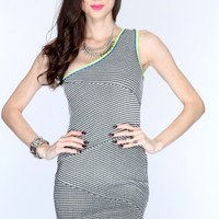 Black Multi One Shoulder Knitted Sexy Bandage Dress