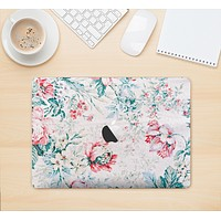"""The Coral & Blue Grunge Watercolor Floral Skin Kit for the 12"""" Apple MacBook"""