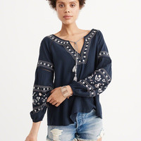 Womens Embroidered Peasant Top | Womens Tops | Abercrombie.com