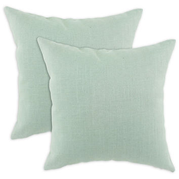 One Kings Lane - Updates for Every Room - Set of 2 Solid 17x17 Pillows, Aqua