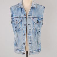 Vintage 80s LEVIS jean denim VEST / Distressed and faded / Unisex cut off jacket
