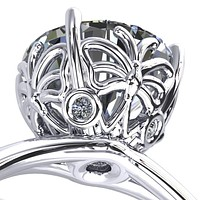 Butterfly Wings Round Moissanite Engagement Ring