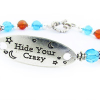 Hide Your Crazy Bracelet, Heart Toggle Bracelet, Turquoise Crystal Bracelet