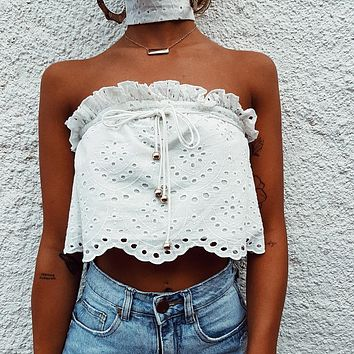 Women Fashion Hollow Strappy Solid Color Strapless Sleeveless Off Shoulder Crop Tops