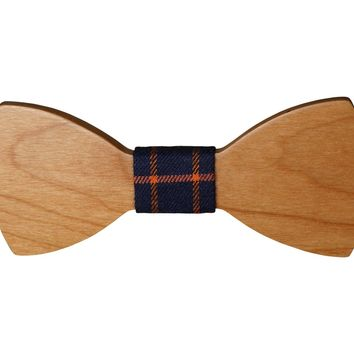 Wooden Smooth Bow Tie w Navy Plaid Fabric Material (Others colors avail)