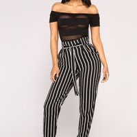 Jacklyn Stripe Pants - Black/White