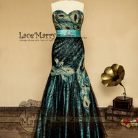 Fit & Flare Evening Dress from Black Lace and Teal Satin with Strapless Sweetheart Neckline featuring Peacock Embroidery and Brooch on Sash
