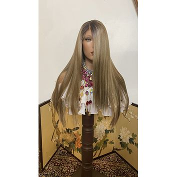 """DARK ASH BLONDE lace front wig 22"""" Long