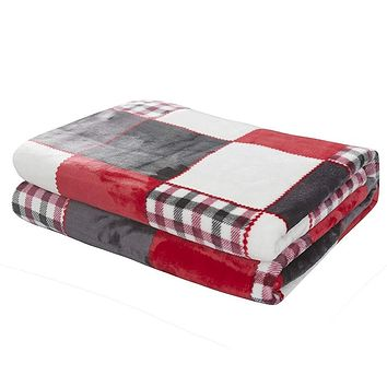 Tache Holiday Red Farmhouse Plaid Patchwork Flannel Throw Blanket (4025)
