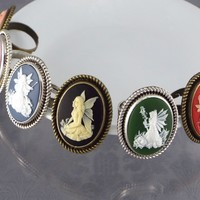 Fairy Cameo Ring Fantasy Jewelry - Silver or Bronze Tone, Black, Blue, Green, Pink, Purple, or Red