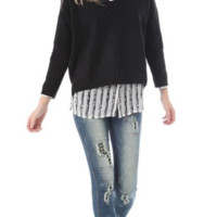 Women's Black Knit Crop Sweater With V Neck