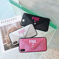 PINK Tide brand embroidery flash card package iphone 8plus mobile phone case cover