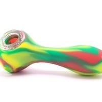"4.5"" Silicone Hand Pipe with Glass Bowl"