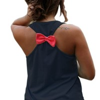 Yipost Women's Naval Anchor Sleeveless Back Bowknot Tank Tops Blouse