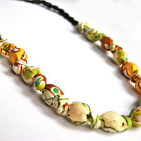 Fabric bead necklace sunny garden