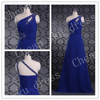 2014 Bridesmaid /Party/Evening/Prom/Formal Dress Chiffon One-shoulder Zipper Beads Sexy Custom Made Floor-length