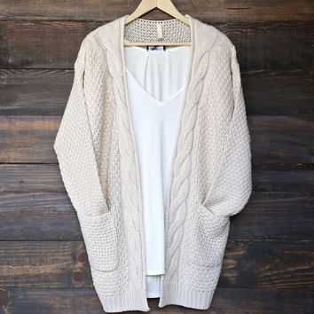 late at night open front cable knit cardigan sweater - natural