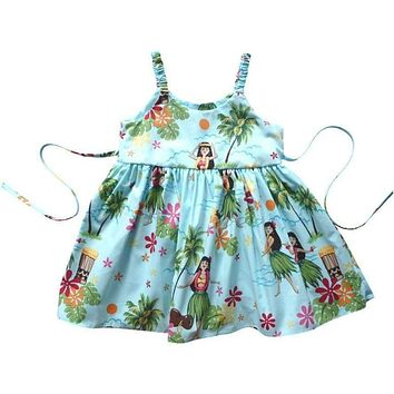 hula girl blue hawaiian girl sundress