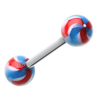 Pinwheel Stripe Acrylic Top Barbell Tongue Ring