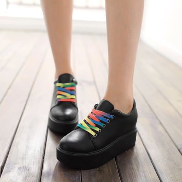 Lace Up Women Wedges Loafers Platform Shoes with Colorful Shoelaces