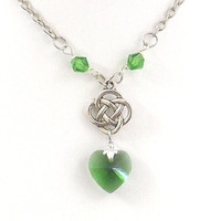 Celtic Knot and Green Heart Crystal Necklace - Love Knot - Irish Jewelry - Endless Knot Necklace - Celtic Jewelry - St Patricks