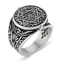 Seal of Solomon and david star sterling silver mens ring