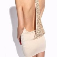 Apricot Sexy Krazy Backless Sequined Dress For Woman