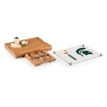 Michigan State Spartans - Concerto Glass Top Cheese Cutting Board & Tools Set, (Bamboo)