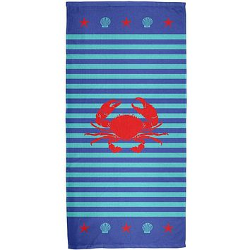 Crab Summer Stripes All Over Bath Towel