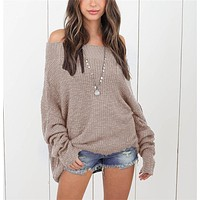 Women Simple Casual Solid Color Loose Long Sleeve Bat Sleeve Knit Sweater Tops