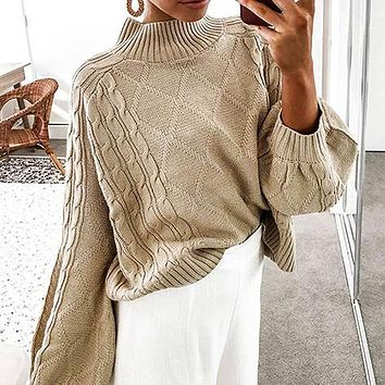 Women Sweater Knitted Pullover Casual High Street Lantern Sleeve Loose Jumpers Female Black Sweater