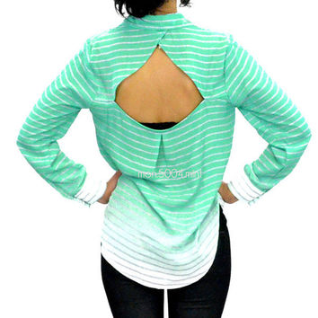 Olly Ombre Mint Striped Open Back Blouse
