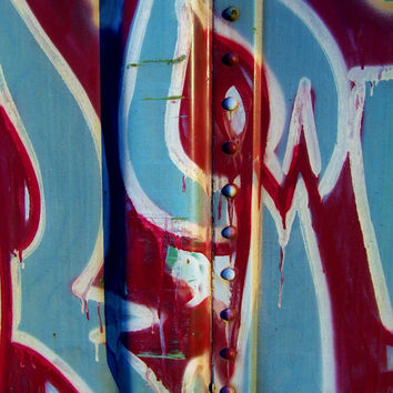 Train Tag 16 Macro - Street Art Photography - Red White Blue Patriotic - Abstract Urban Graffiti - Urban Decay - Fine Art Photography